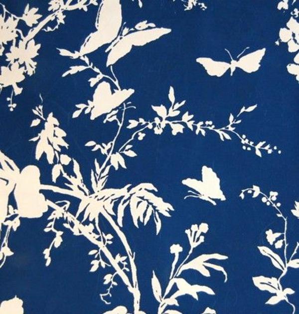 dekotapete tapeten wohnideen blau weiß schmetterlinge
