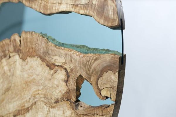 designer esstische glas türkis holz closer look
