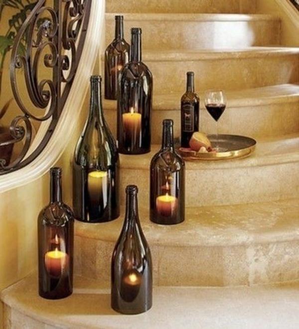 designer leuchten diy  aus weinflasche kerzen