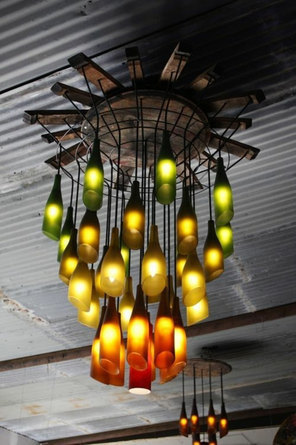 designer leuchten diy weinflasche kronleuchter