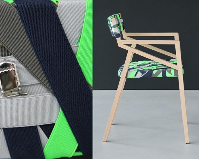 designer möbel Bretelle holzstühle sitz rücklehne hosenträger blau grau grün farbpalette