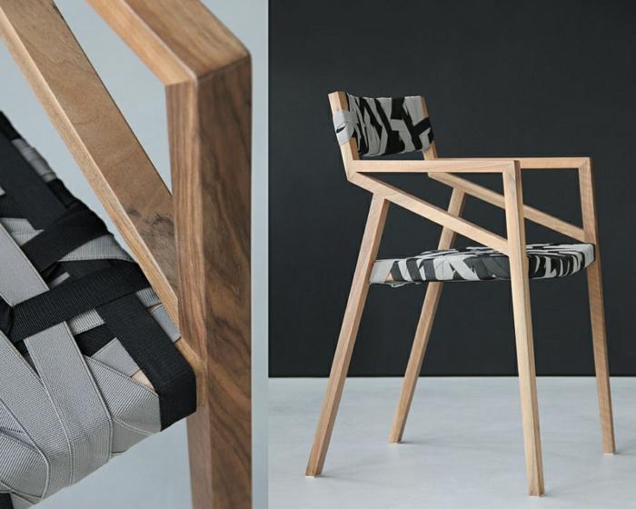 designer möbel Bretelle holzstühle sitz rücklehne hosenträger schwarz grau farbpalette