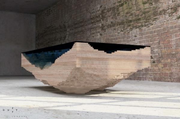 Designer Tisch Aus Glas Und Holz Erinnert An Die Tiefe Des Ozeans