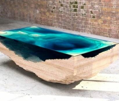 designer tisch aus glas und holz erinnert an die tiefe des ozeans. Black Bedroom Furniture Sets. Home Design Ideas