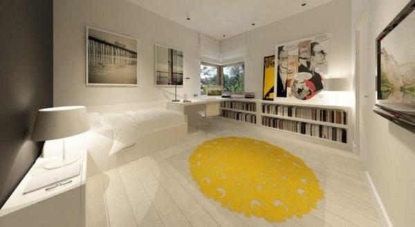 designideen jugendzimmergestaltung bett gelber teppich