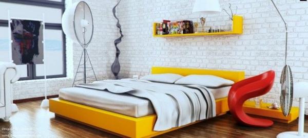 designideen jugendzimmer gestalten gelbes bett regal ziegelwand