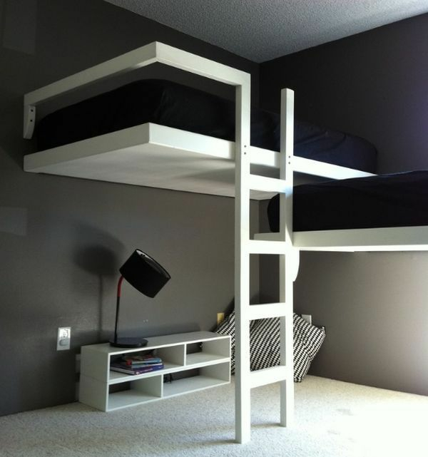 designideen jugendzimmergestaltung schwarz weiß stockbett