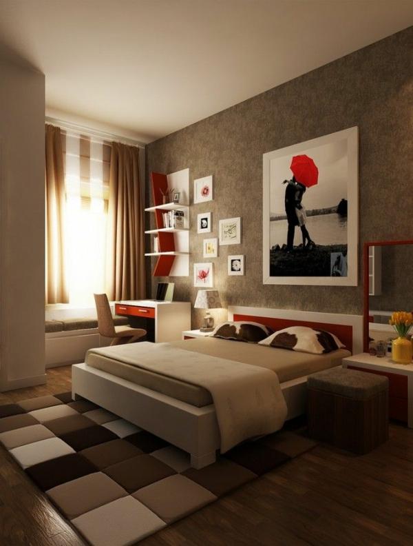 designideen jugendzimmergestaltung teppich quadratmuster braun bett