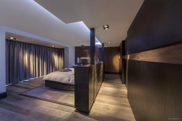 feng shui schlafzimmer bett großraum schwarz
