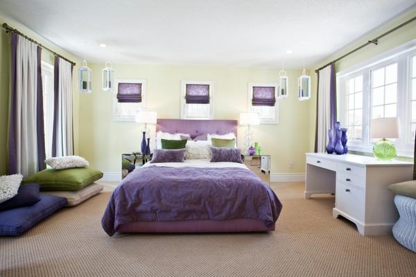feng shui schlafzimmer dekoration lila akzente