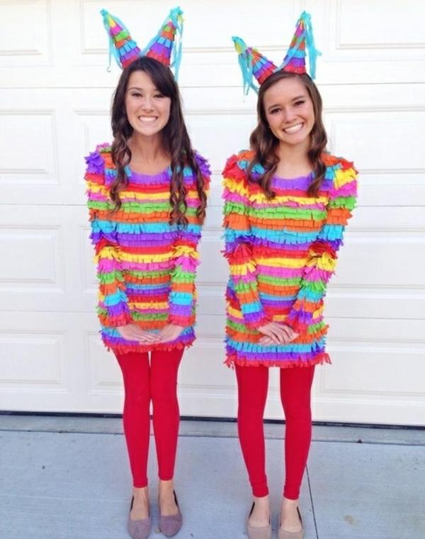 diy kleidung ideen karnevalskostüme bunte pinatas