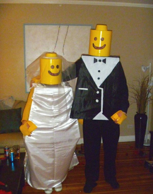 diy-kleidung-karnevalskostüme lego braut bräutigam
