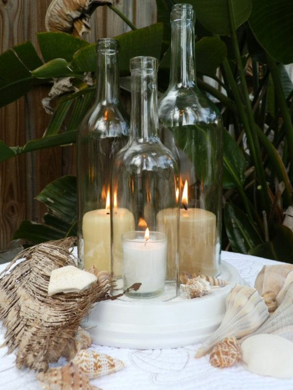 diy leuchten weinflasche deko mit kerzen