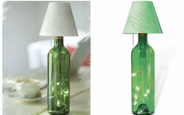 diy tischlampe weinflasche dekoration