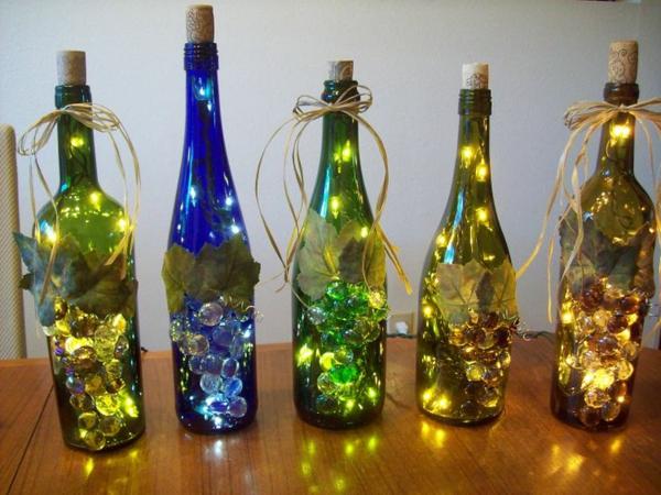 diy lampe bunte weinflaschen
