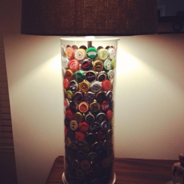 diy lampe flaschendeckel zimmer dekoideen