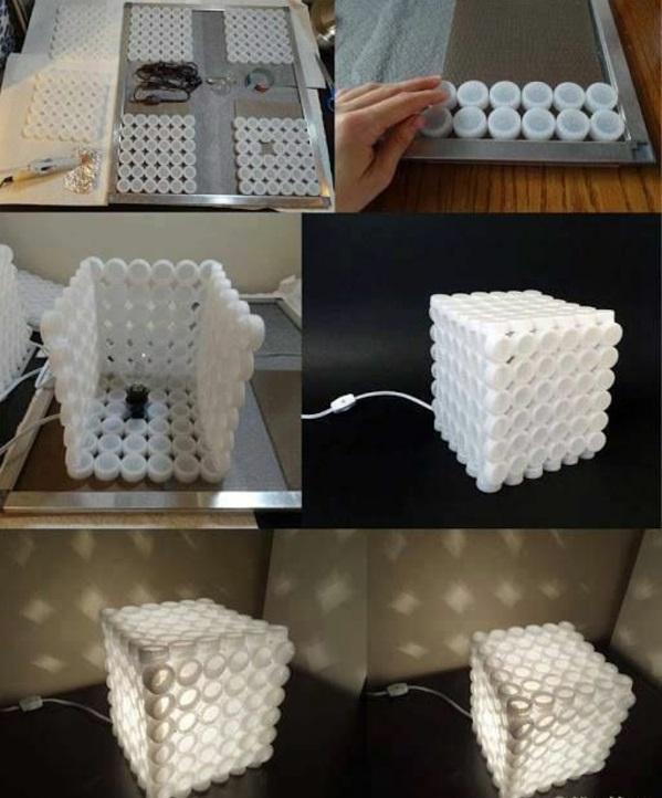 Außerordentliche DIY Lampe aus Flaschendeckeln