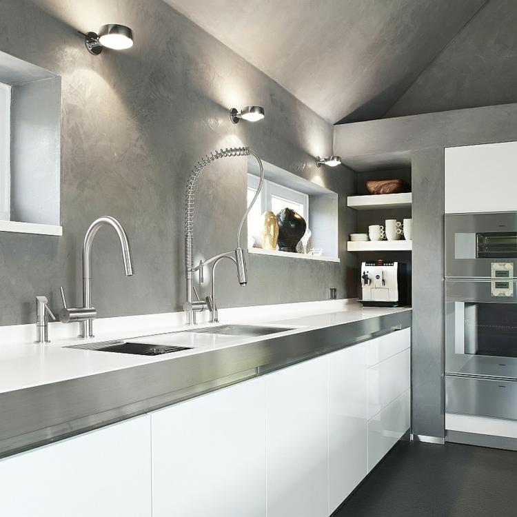 edelstahl küchenarmatur moderne küche wasserhahn küchenspüle arbeitsplatte