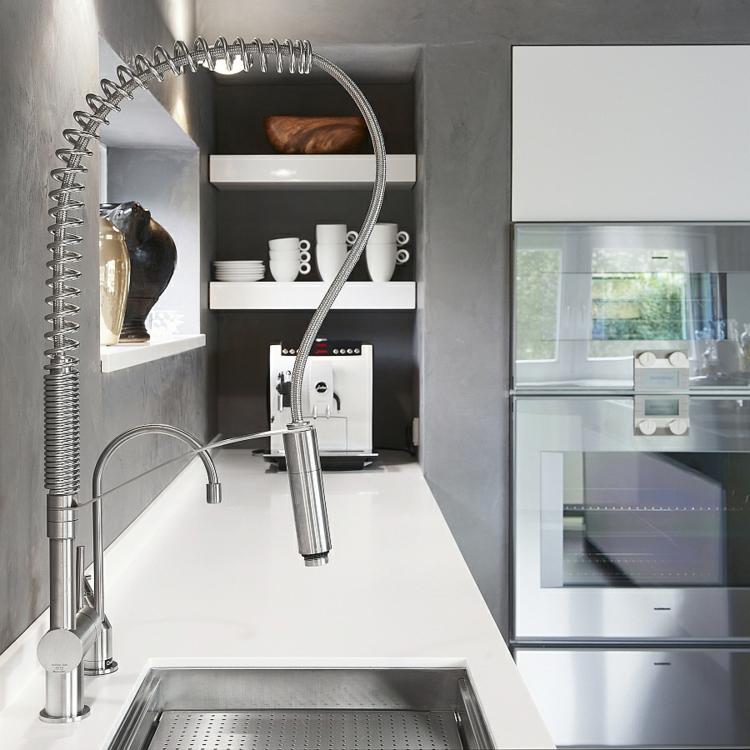 edelstahl küchenarmatur moderne küche wasserhahn küchenspüle