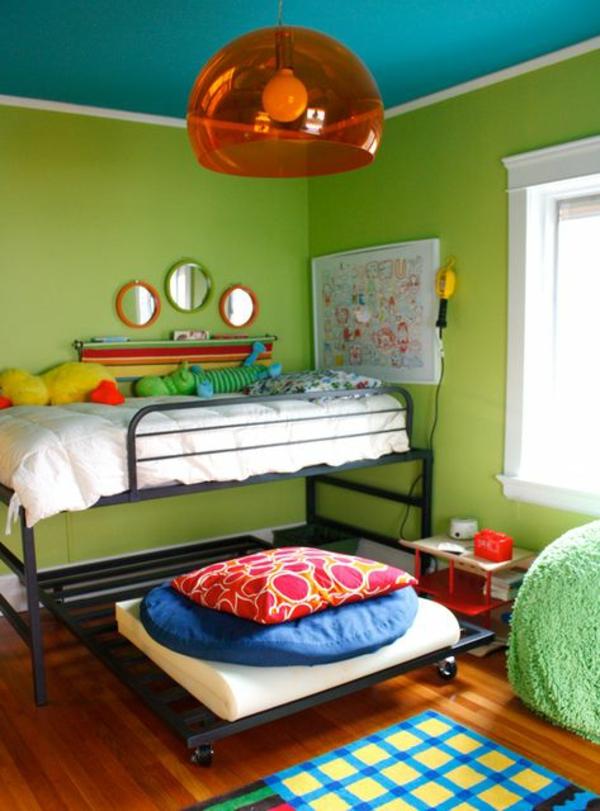 einrichtungsideen farbideen kinderzimmer grün und blau pendelleuchte