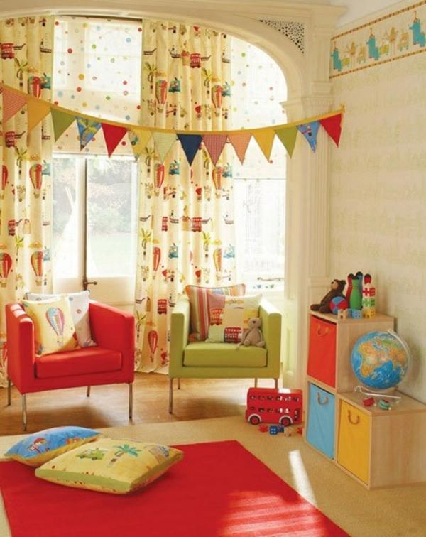 farbideen kinderzimmer starke farben teppich kleine sessel