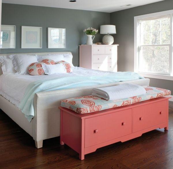 Schlafzimmer Farben Grau Bett Bettbank