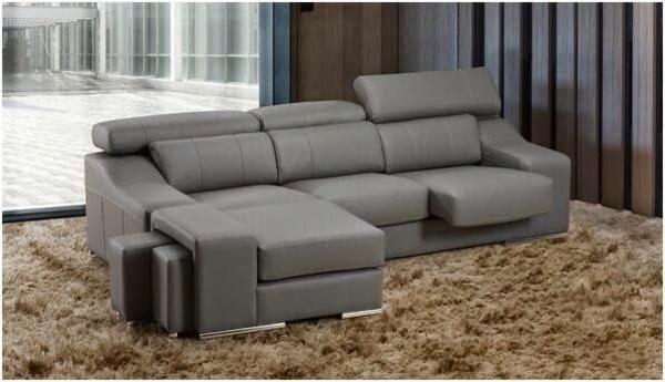 graues scheselong sofa ledermöbel