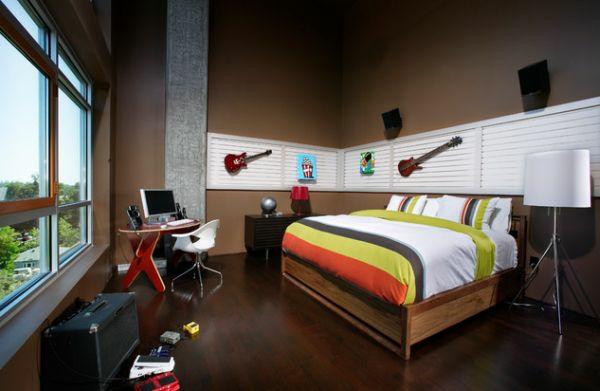 jugendzimmer jungen dekoideen gitarren bett