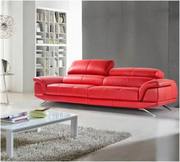 scheselong sofa ledermöbel rot