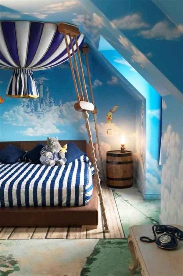 Kinderzimmer gestalten junge mit dachschräge  40 Farbideen Kinderzimmer - der Zauber der Farben