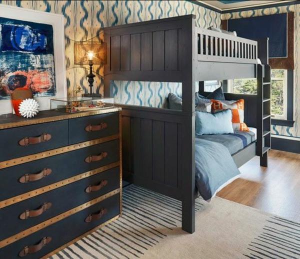 kinderzimmer farbideen gestalten blaue möbel stockbett