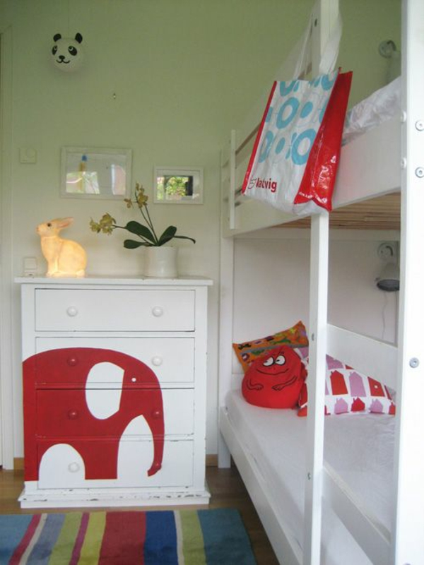 farbideen kinderzimmer gestalten kommode elefant muster