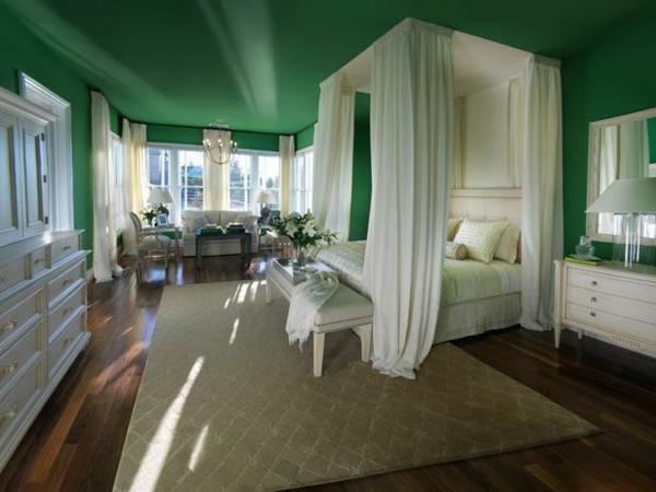 Farbideen Schlafzimmer Einrichten Grüne Wand Decke
