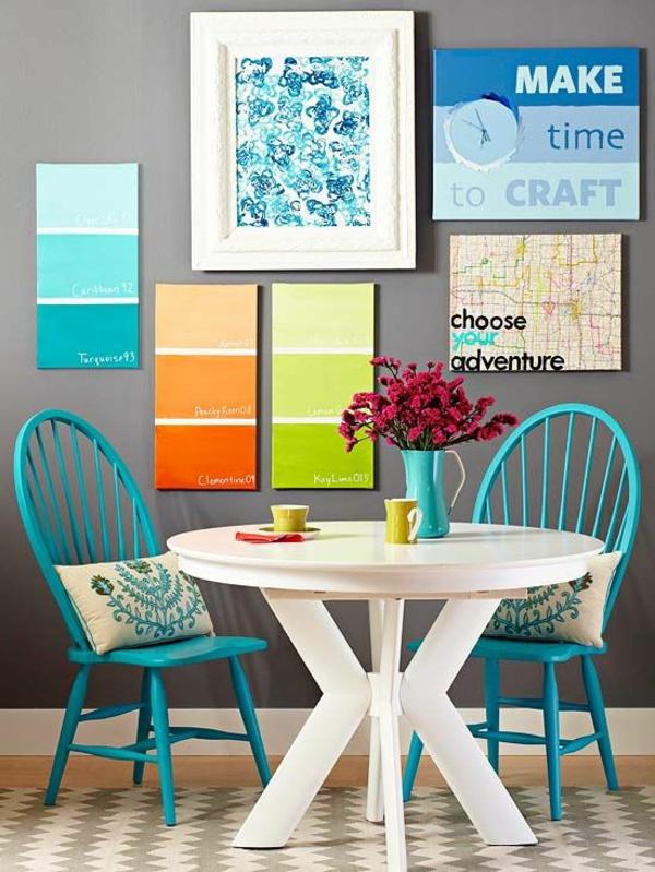farbtafel wandfarbe esszimmer farbgestaltung esstisch mit stühlen wandddeko