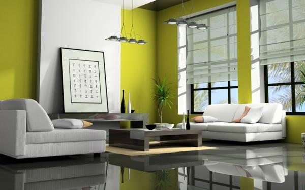 feng shui regeln einrichtungsideen wohnzimmer wandfarbe grün