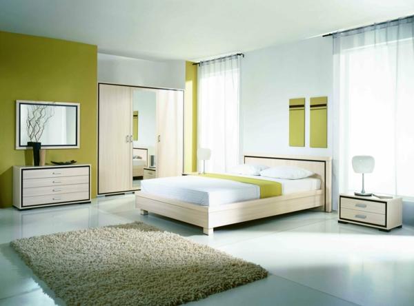 feng shui schlafzimmer farben grün holz möbel bett