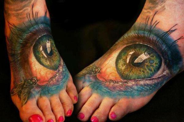 fuß tattoos 3d auge motiv