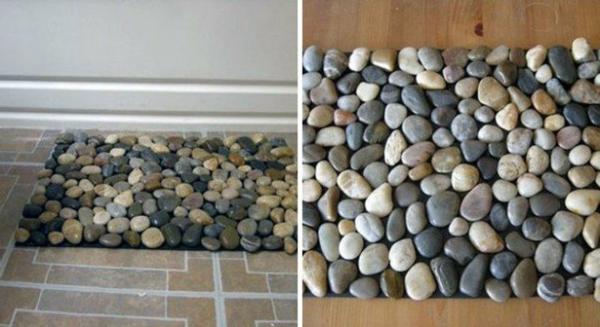 fußmatten flusssteine idee natur badezimmer