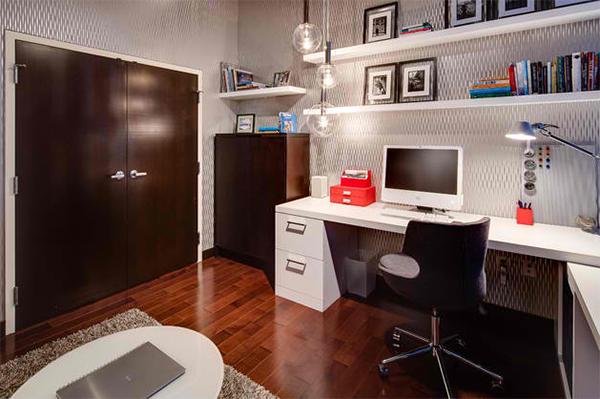 heimbüro einrichten arbeitszimmer gestalten wandtapeten muster