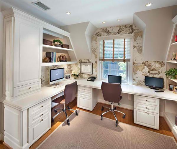 heimbüro einrichten arbeitszimmer wandtapeten muster weltkarte