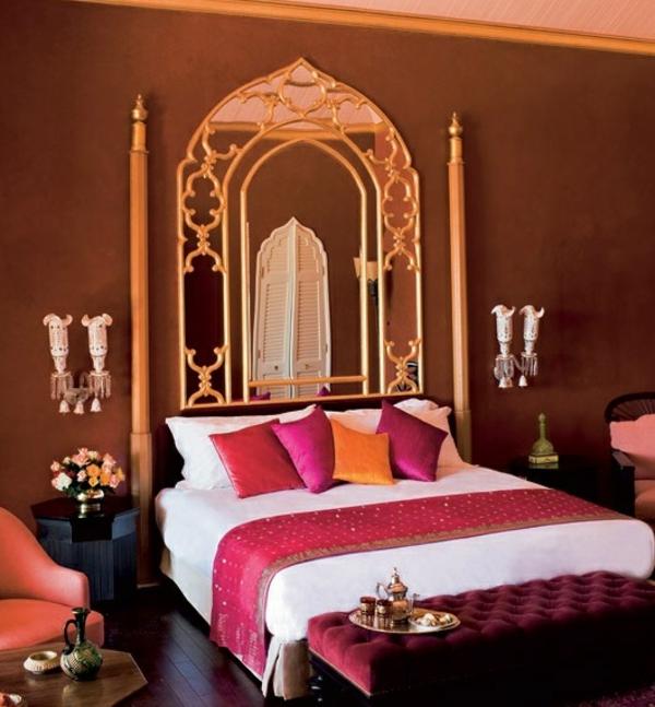 amazing orientalische schlafzimmer ideen #1: orientalisches schlafzimmer bett kopfteil spiegel