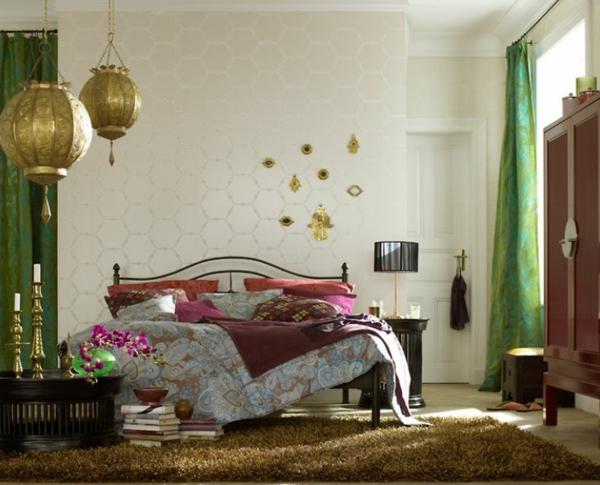 Wundervoll Innendesign Orientalisches Schlafzimmer Gold Pendelleuchten Bett Orientalisches  Schlafzimmer Gestalten ...