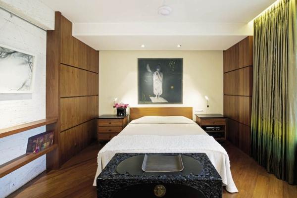 schlafzimmer stil feng shui grüne gardinen