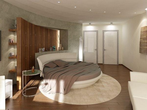 schlafzimmer stil feng shui rundbett einbauleuchten