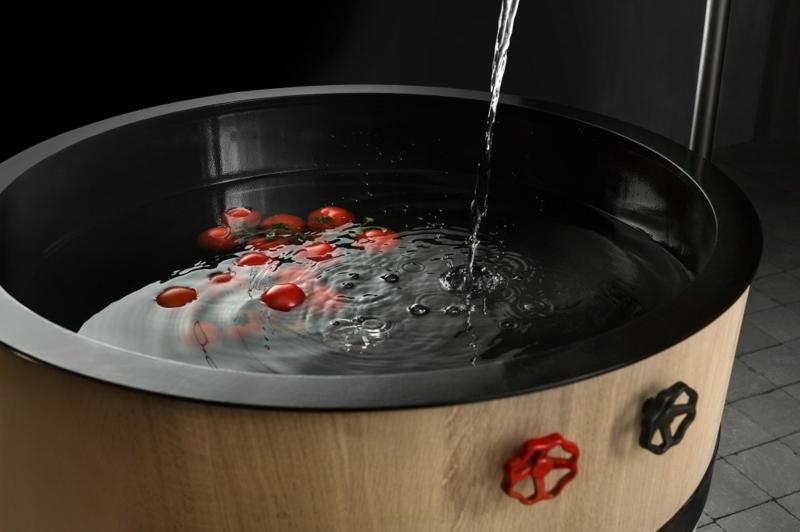 italienische küchenmöbel holzfass bodenständige armatur küchenspüle Minacciolo Tinozza