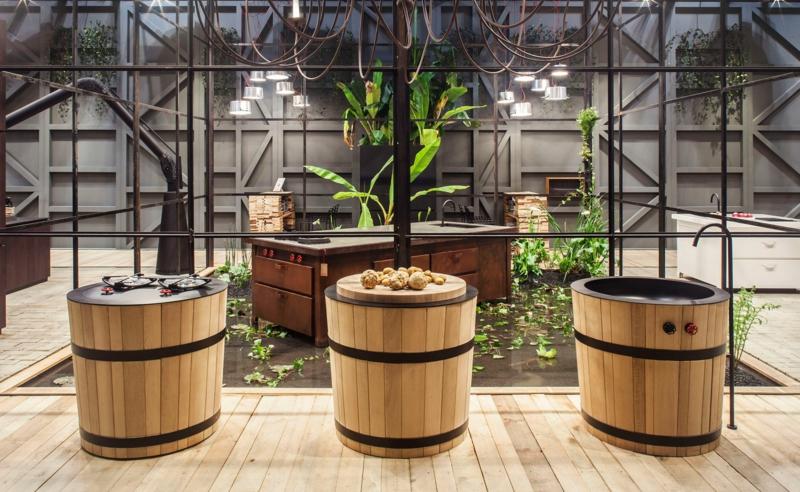 italienische küchenmöbel holzfass kompakte küchendesign landhausstil Minacciolo Tinozza