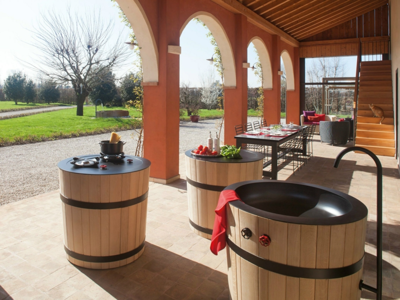 italienische küchenmöbel outdoor küche terrasse gestalten Minacciolo Tinozza