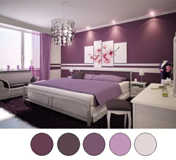 jugendzimmer für mädchen lila farbpalette