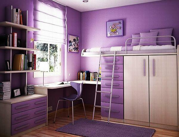 jugendzimmer mädchen lila wandgestaltung stockbett