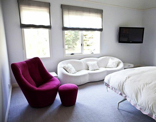 jugendzimmer mädchen rosa sessel sofa
